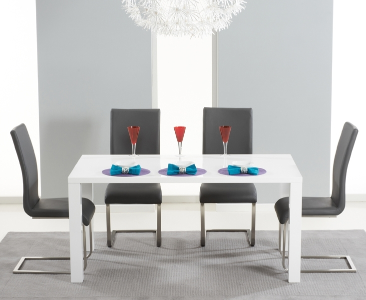Hampstead 120Cm White High Gloss Dining Table With Malaga Chairs For Newest White High Gloss Dining Tables And Chairs (Gallery 11 of 20)