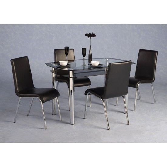 Harley Black And Clear Glass Dining Table And 4 Black Chairs – (View 6 of 20)
