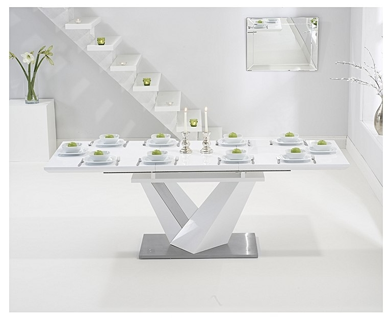 Harmony 160Cm Extending White High Gloss Dining Table Regarding Most Popular Extending White Gloss Dining Tables (Gallery 8 of 20)