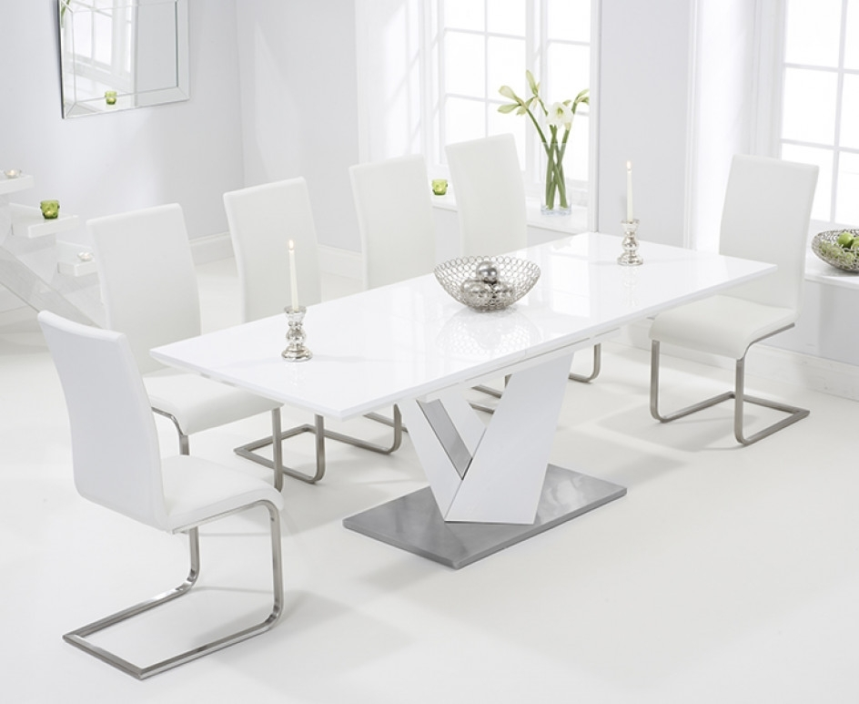 Harmony 160Cm White High Gloss Extending Dining Table With Malaga Intended For Recent High Gloss Extendable Dining Tables (View 16 of 20)