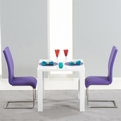 Harvey 80Cm High Gloss White Dining Table With 2 Milan Purple Chairs Intended For Popular Dining Tables And Purple Chairs (View 9 of 20)