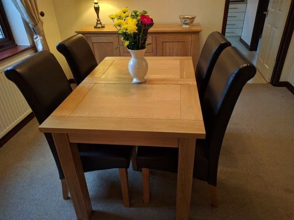 Harvey Solid Oak Small Leaf Extending Dining Table – 120Cm To153Cm X Throughout Latest Harvey Dining Tables (View 15 of 20)