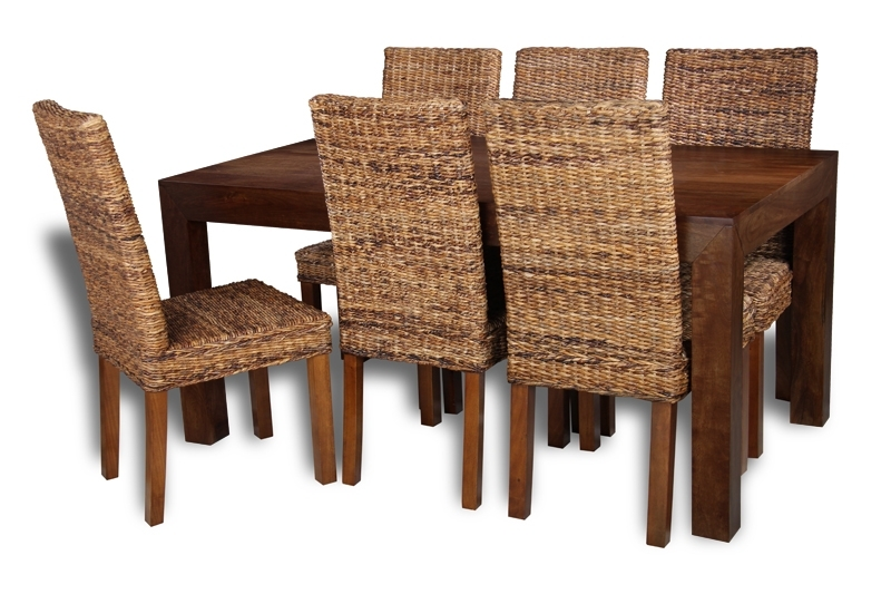 Havana Dining Tables For Most Up To Date Mango Wood Table Dining Set With 6 Rattan Chairs (View 11 of 20)