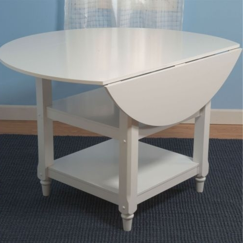Helms Round Dining Tables In Well Liked 48 Inch Round Dual Drop Leaf Dining Table In White Wood Finish (Gallery 14 of 20)