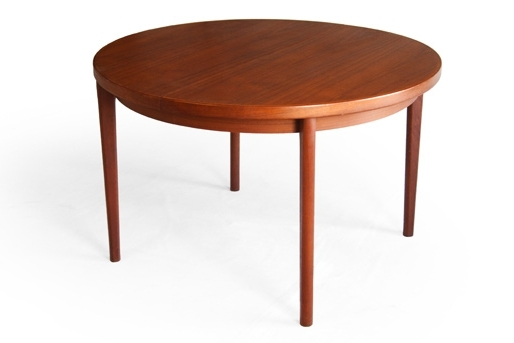 Henning Kjaernulf Vejle Round Teak Dining Table Danish Modern Intended For Trendy Round Teak Dining Tables (Gallery 6 of 20)