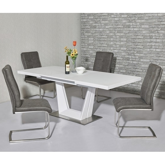 Henry Glass Extendable Dining Table Matt White 6 Cleo Throughout Most Current White Extendable Dining Tables And Chairs (Gallery 7 of 20)