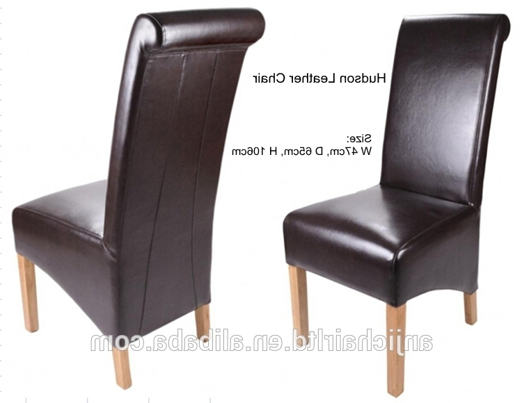 High Back Leather Dining Chairs With Regard To Most Up To Date Classic Roll Back Wood Frame High Back Leather Dining Chair – Buy (Gallery 3 of 20)