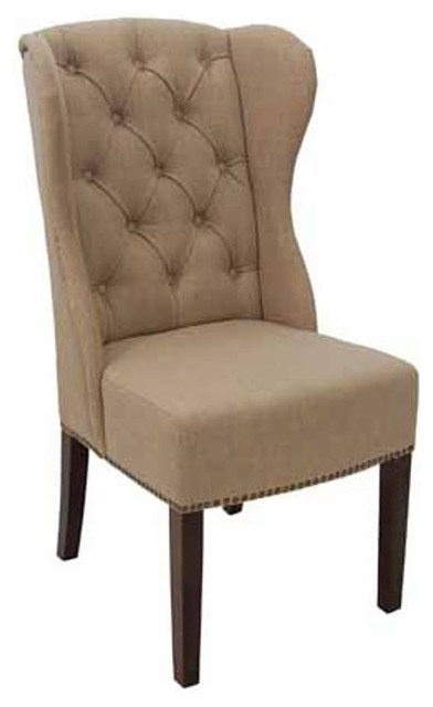 High Back Wing Tufted Dining Armchair, Fabric – Transitional Within Well Known High Back Dining Chairs (View 11 of 20)