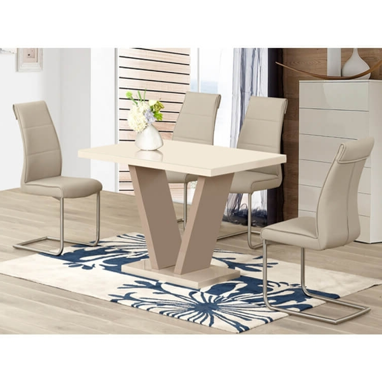High Gloss Cream Dining Tables Pertaining To Most Popular Milan Cream High Gloss Dining Set 4 To 6 Seater (View 11 of 20)