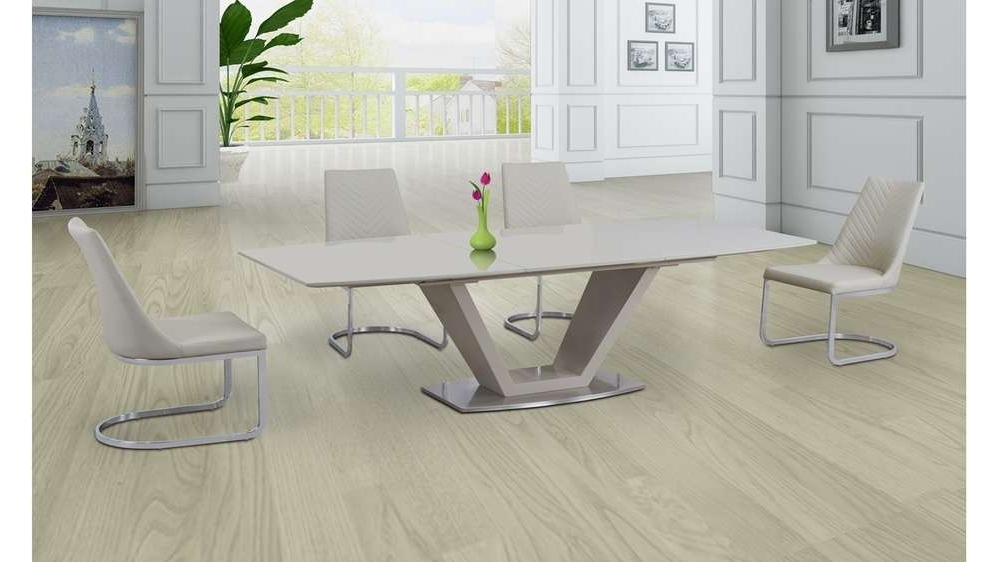 High Gloss Cream Dining Tables With Most Recently Released Cream Glass High Gloss Extending Dining Table And 6 Cream Chairs (View 12 of 20)