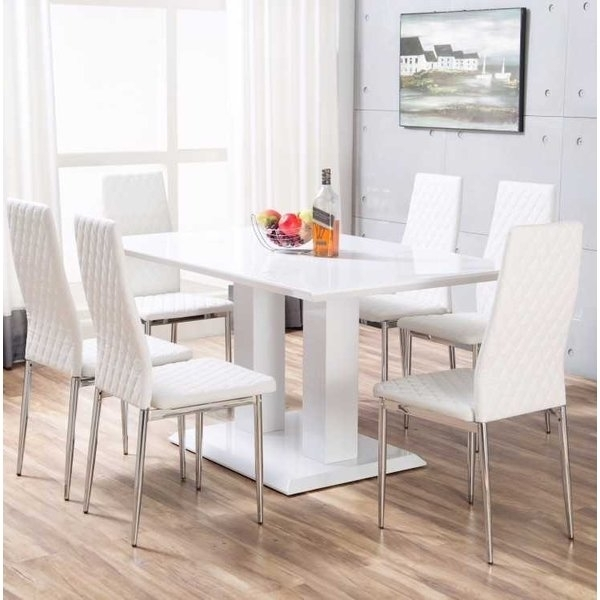 High Gloss Dining Sets For Most Up To Date Orren Ellis Ransbergl High Gloss Dining Set With 6 Chairs & Reviews (View 7 of 20)