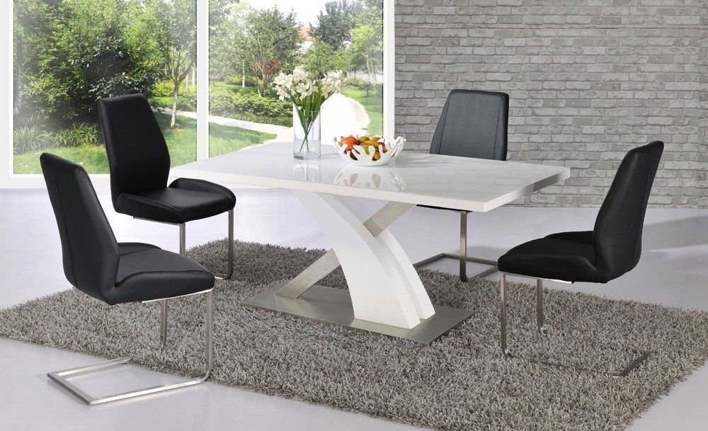 High Gloss Dining Tables Sets Within Latest White High Gloss Dining Table Set And 6 Black Chairs – Homegenies (View 8 of 20)