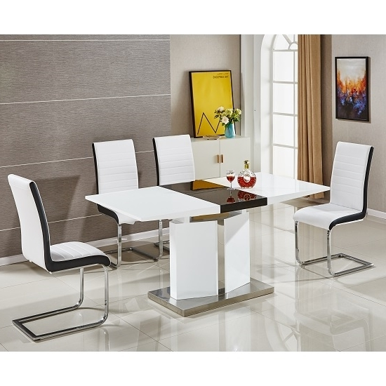 High Gloss Extendable Dining Tables Regarding Best And Newest Belmonte Extendable Dining Table Small With 6 White Chairs (View 17 of 20)