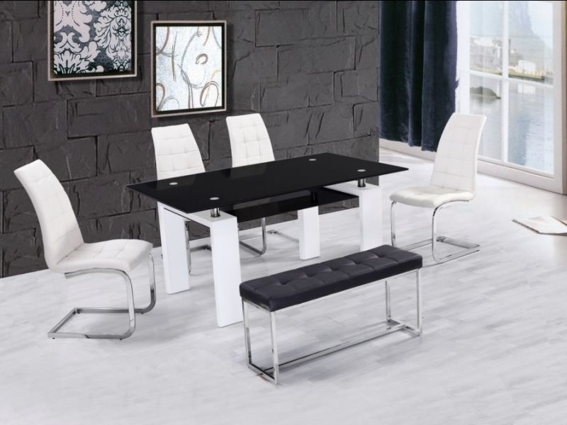 High Gloss Glass Dining Table With 4 Chairs & Bench – Homegenies For Most Recently Released White Gloss And Glass Dining Tables (Gallery 14 of 20)