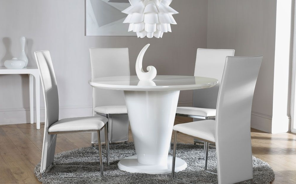 High Gloss Round Dining Tables Pertaining To Most Recently Released Paris White High Gloss Round Dining Table And 4 Chairs Set (Athens (Gallery 6 of 20)