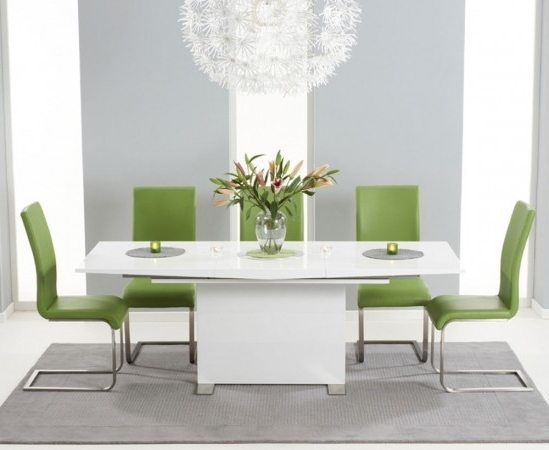 High Gloss White Extending Dining Tables In Popular Marila 150Cm White High Gloss Extending Dining Table With 6 Malibu (View 4 of 20)