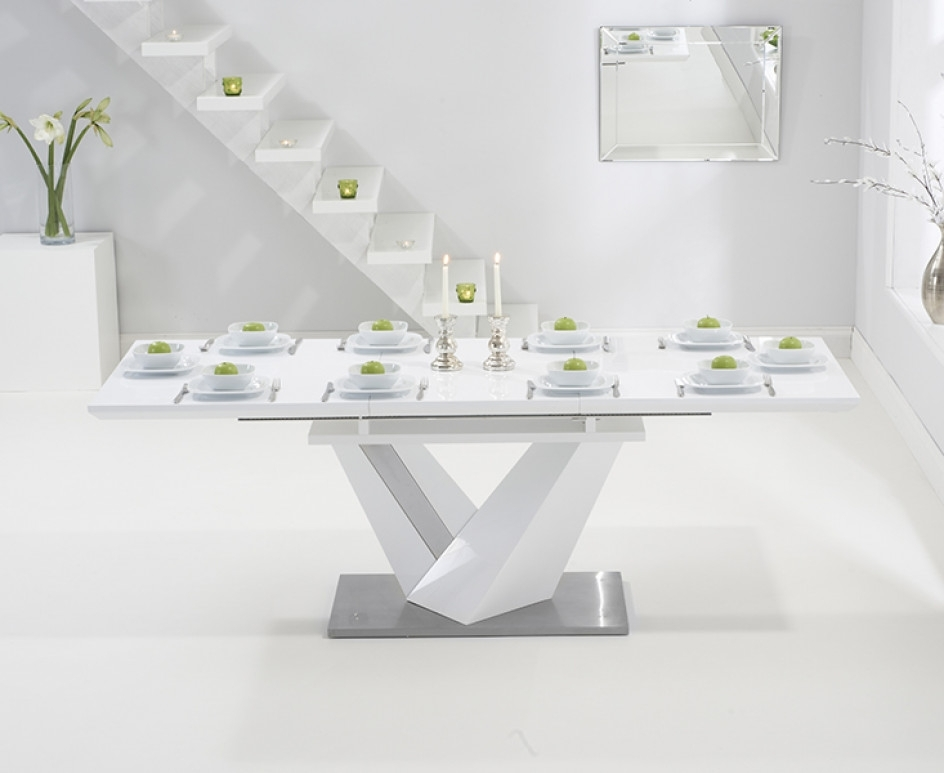 High Gloss White Extending Dining Tables Pertaining To Favorite Harmony 160Cm White High Gloss Extending Dining Table With Hampstead (View 6 of 20)