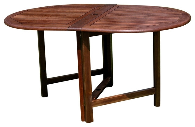 Highland Acacia Miami Oval Gate Leg Folding Dining Table,brown With Current Oval Folding Dining Tables (Gallery 6 of 20)