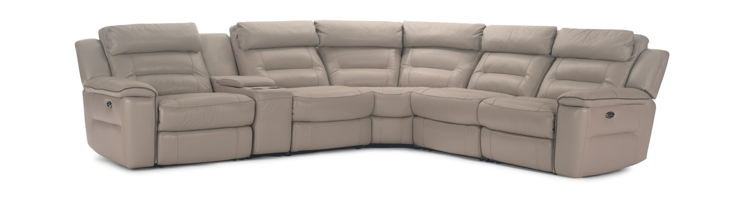 Hom Furniture Intended For Most Up To Date Marcus Grey 6 Piece Sectionals With  Power Headrest & Usb (View 5 of 15)