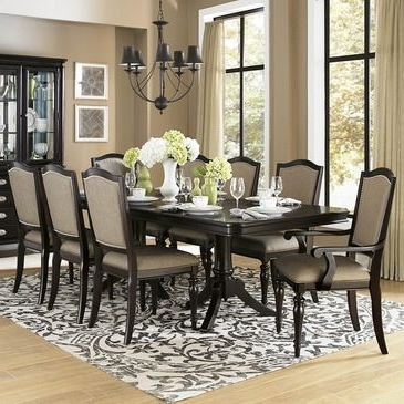 Homelegance Marston 9 Piece Double Pedestal Dining Room Set In Dark Intended For 2017 Caira Black 7 Piece Dining Sets With Arm Chairs & Diamond Back Chairs (View 11 of 20)