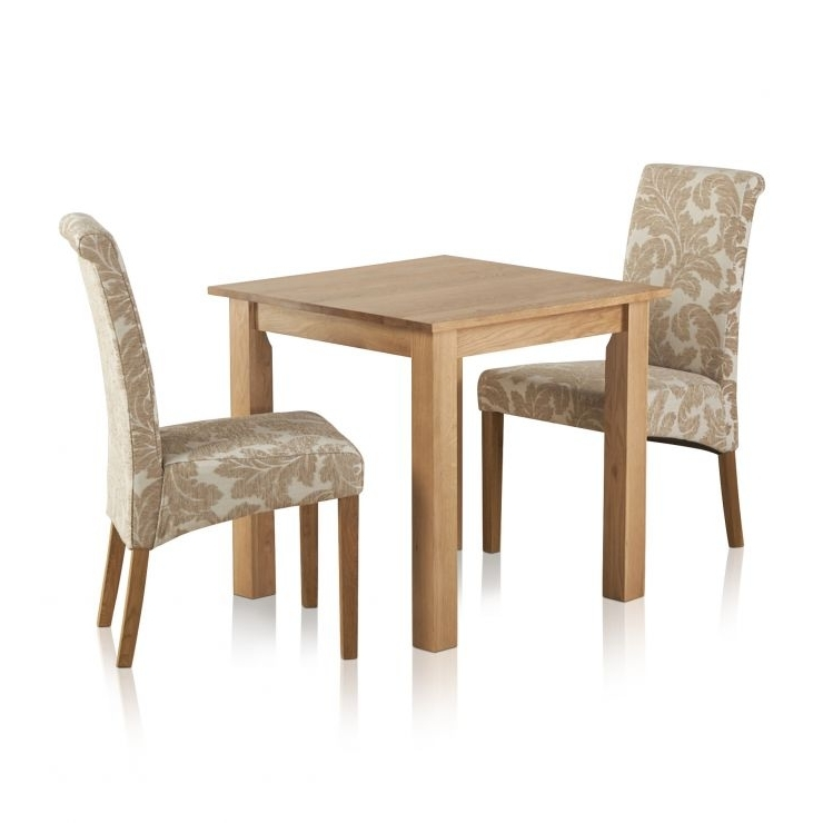 Hudson Dining Tables And Chairs With Regard To Most Recent Hudson Dining Set In Solid Oak: Table + 2 Patterned Beige Chairs (View 17 of 20)