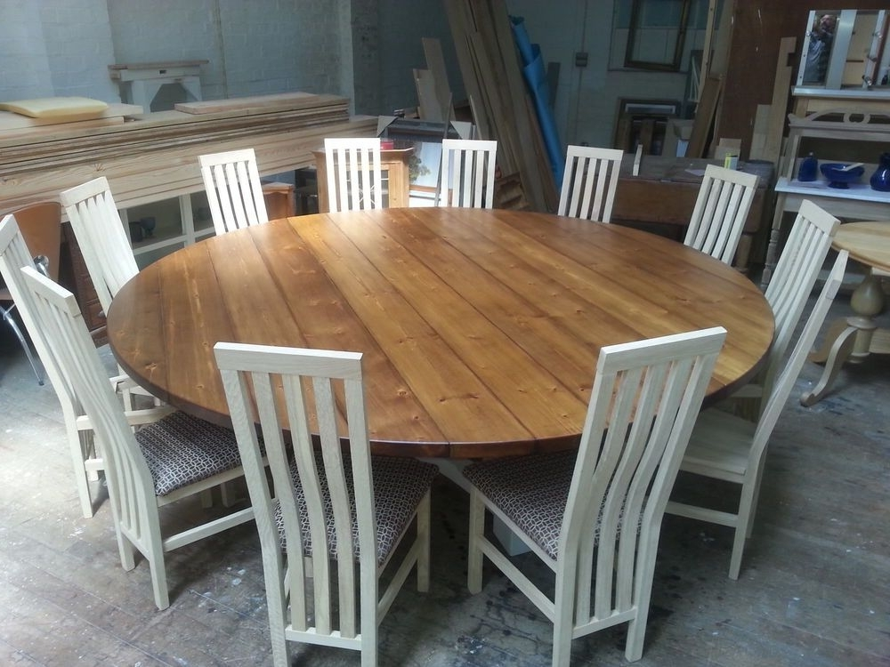 Huge Round Dining Tables Intended For Current 8,10,12, 14 Seater Large Round Hoop Base Dining Table, Bespoke (Gallery 1 of 20)