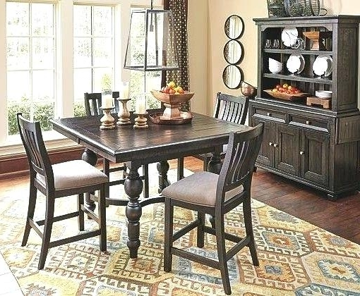 Hyland 5 Piece Counter Sets With Bench Within Well Known Counter Height Dining Room Table With Leaf Coviar And Bar Stools (View 10 of 20)