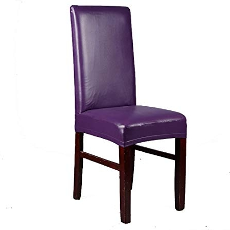 Ieventstar Pu Faux Leather Waterproof Stretch Dining Chair Cover Throughout Fashionable Purple Faux Leather Dining Chairs (View 6 of 20)