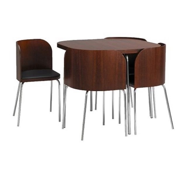 Ikea Discontinued Fusion Compact Dining Table And Chairs In Wood In Trendy Compact Dining Tables (Gallery 4 of 20)