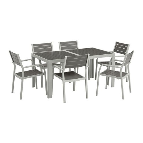 Ikea – Själland Table+6 Armchairs, Outdoor Dark Gray, Light Gray Regarding Current Lassen 7 Piece Extension Rectangle Dining Sets (Gallery 8 of 20)