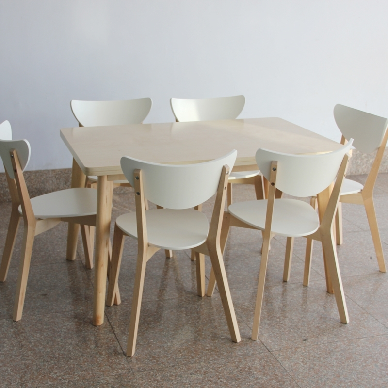 Ikea Style Dining Table And Chairs Rectangular Tables Wood Laminate Throughout 2018 Birch Dining Tables (Gallery 16 of 20)