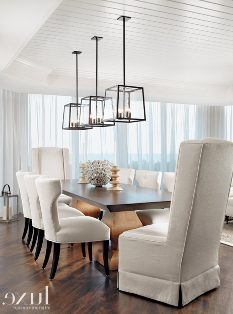 In This Stunning Dining Room, Three Holly Hunt Light Fixtures Are Regarding Newest Over Dining Tables Lights (Gallery 3 of 20)