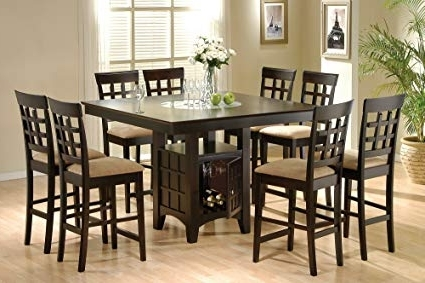 Ina Matte Black 60 Inch Counter Tables With Frosted Glass In Most Popular Amazon – Coaster Home Furnishings 9 Piece Counter Height Storage (View 11 of 20)