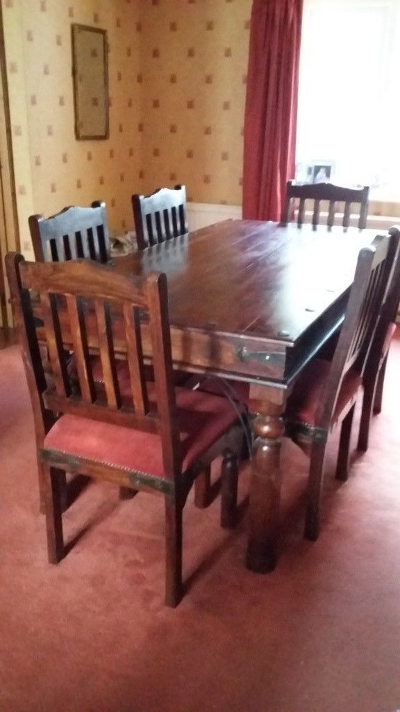Indian Style 6 Seater Wooden Dining Table And Six Padded Wooden In Fashionable Indian Style Dining Tables (Gallery 8 of 20)