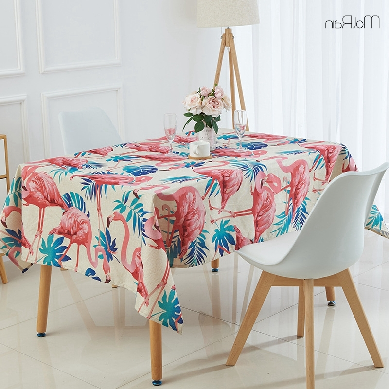 Indian Style Dining Tables With Most Recently Released 1Pcs Tropical Plants Flamingo Tablecloth Indian Style Decorative (View 11 of 20)