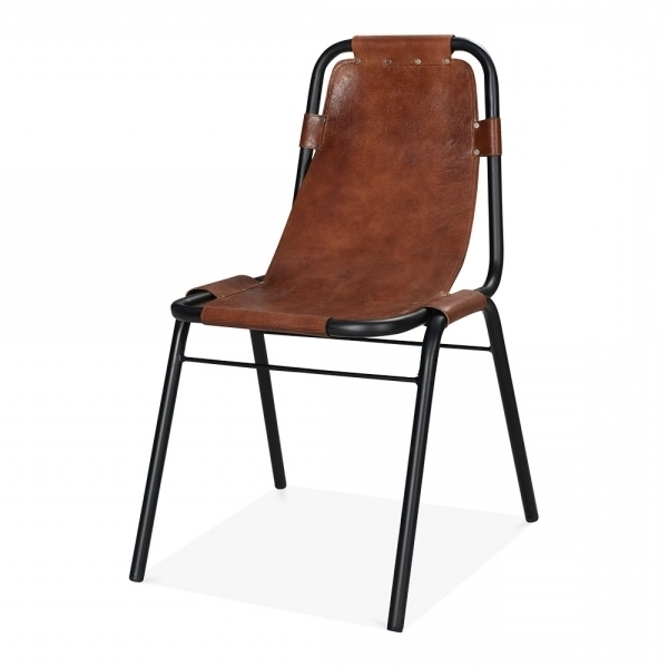 Industrial Brown Leather Dining Chair – Heyl Interiors With Regard To Favorite Brown Leather Dining Chairs (Gallery 11 of 20)
