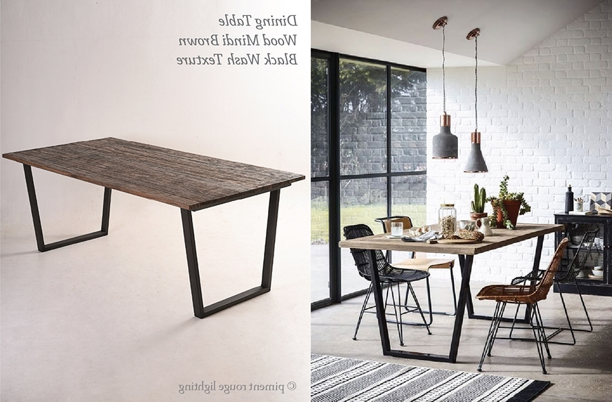 Industrial Style Dining Tables Inside Well Known Industrial Style Dining Room With Wood Mindi Brown Dining Table (View 9 of 20)