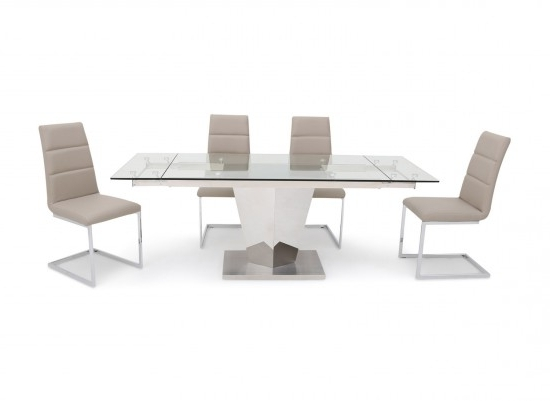 Isabella Extending Clear Glass Dining Table With 6 Zara Chairs With Regard To 2017 Isabella Dining Tables (View 9 of 20)