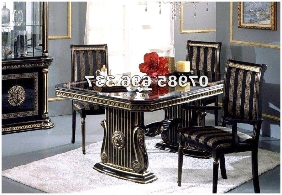 Italian Dining Tables In Well Known Rossella Italian Dining Table And 6 Chairs In High Gloss With Gold (View 11 of 20)