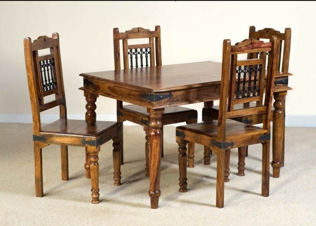Jali Sheesham Dining Table And 4 Chairs (View 9 of 20)