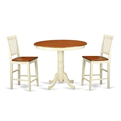 Jaxon 5 Piece Extension Counter Sets With Fabric Stools In Popular Amazon: East West Furniture Javn3 Whi W 3 Piece Counter Height (View 9 of 20)