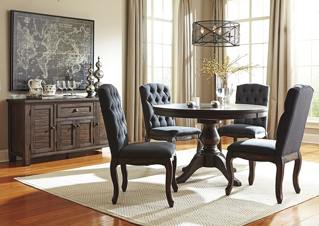 Jaxon 5 Piece Extension Round Dining Sets With Wood Chairs In Favorite Eddie's Furniture & Mattress Trudell Golden Brown Round Dining Room (View 7 of 20)