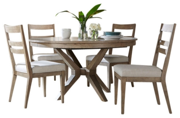 Jaxon 5 Piece Round Dining Sets With Upholstered Chairs Regarding Preferred Portswood 5 Piece Dining Set – Transitional – Dining Sets – (View 9 of 20)