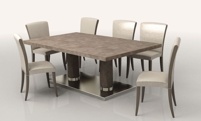 Jaxon 6 Piece Rectangle Dining Sets With Bench & Uph Chairs Regarding Trendy Dining Room Low Poly (Gallery 4 of 20)