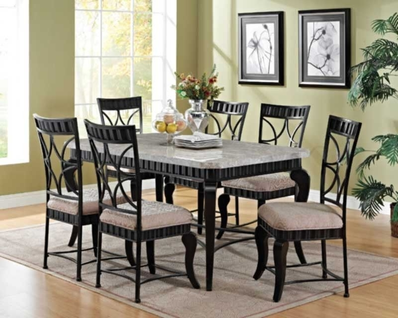 Jaxon 7 Piece Rectangle Dining Sets With Upholstered Chairs Inside Fashionable Acme Furniture – Lorencia 7 Piece Rectangle Dining Table Set –  (View 10 of 20)