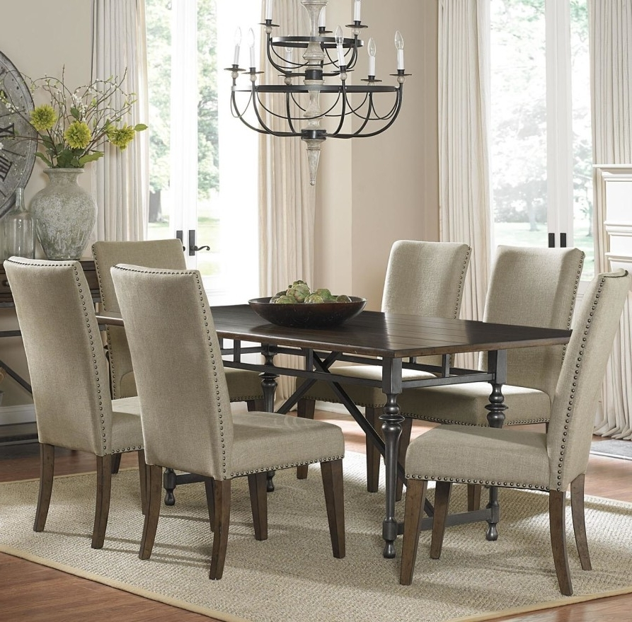 Jaxon 7 Piece Rectangle Dining Sets With Upholstered Chairs Within Best And Newest Dining Room Spectacular Dining Room Sets With Upholstered Metal (View 12 of 20)