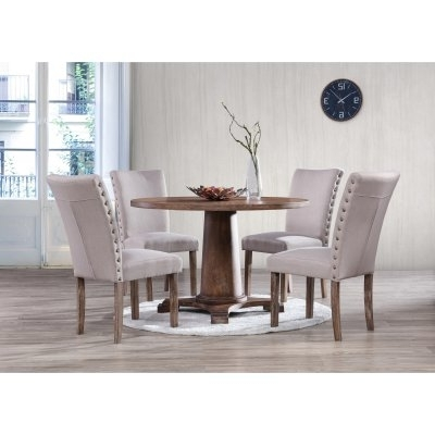 Jaxon Grey 5 Piece Extension Counter Sets With Wood Stools With 2017 Best Master Furniture Carey Round 5 Piece Round Dining Set In  (View 10 of 20)