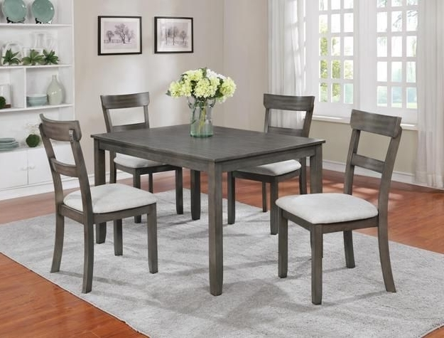 "Jaxon Grey 5 Piece Round Extension Dining Sets With Upholstered Chairs Pertaining To Fashionable Henderson Driftwood Grey 5 Piece Dinette $399.00 Table 48"" X 36"" X (Gallery 4 of 20)"