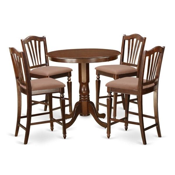 Jaxon Grey 5 Piece Round Extension Dining Sets With Upholstered Chairs Throughout Most Current East West Jackson 5 Piece Counter Height Pub Table Set (Gallery 14 of 20)