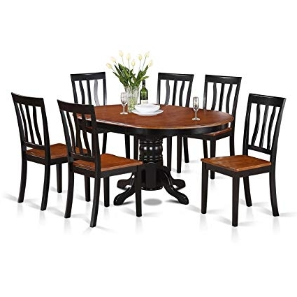 Jaxon Grey 5 Piece Round Extension Dining Sets With Upholstered Chairs With Regard To Most Recent Amazon: East West Furniture Avat7 Blk W 7 Piece Dining Table Set (Gallery 10 of 20)